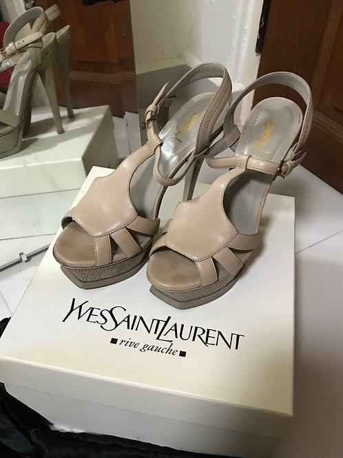 Yves Saint Laurent Strappy Platform Heels (Size 37.5)