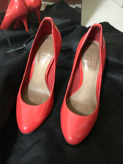 Coach Red Patent Leather Heels (Size 35)