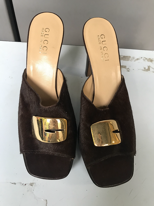 Gucci Brown Horsehair Heels (Size 39.5)