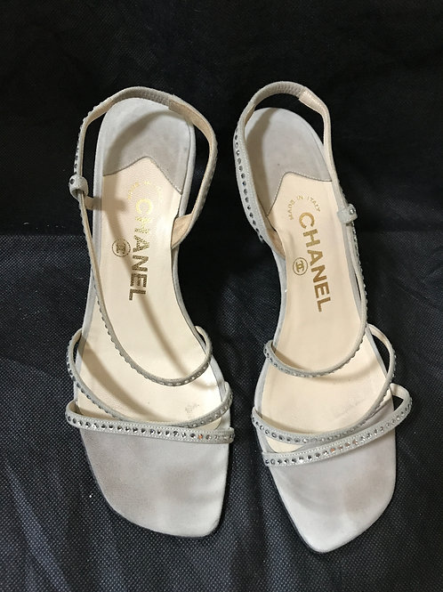 Chanel Grey Suede Sandals (Size 36.5)