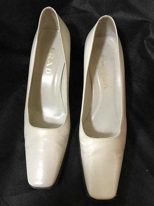 Prada White Square Toe Heels (Size 36.5)