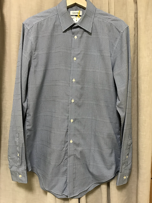Calvin Klein Blue Checkered Long Sleeve Shirt (Size Men's M)