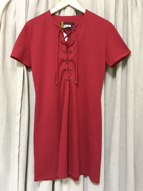 Reformation Red Lace-Up Dress (Size M)