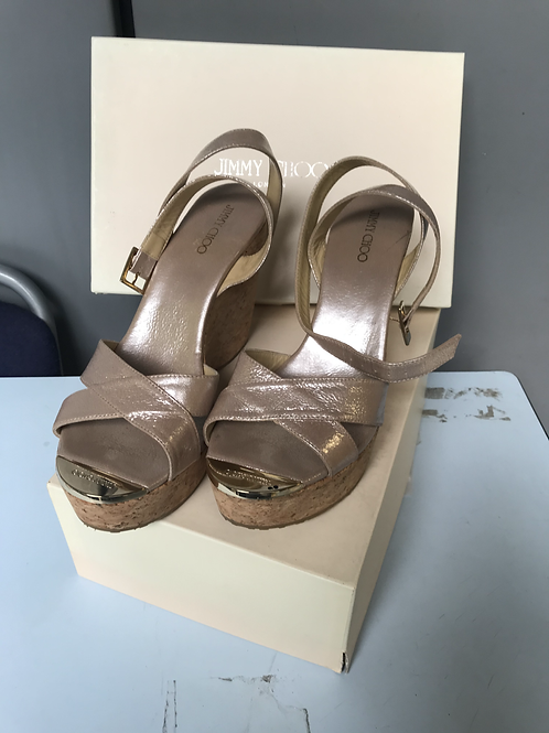 Jimmy Choo Strappy Champagne Cork Wedges (Size 40)