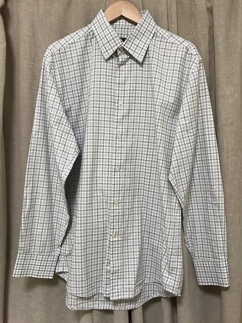 Calvin Klein Grey Checkered Long Sleeve Shirt (Size Men's M)