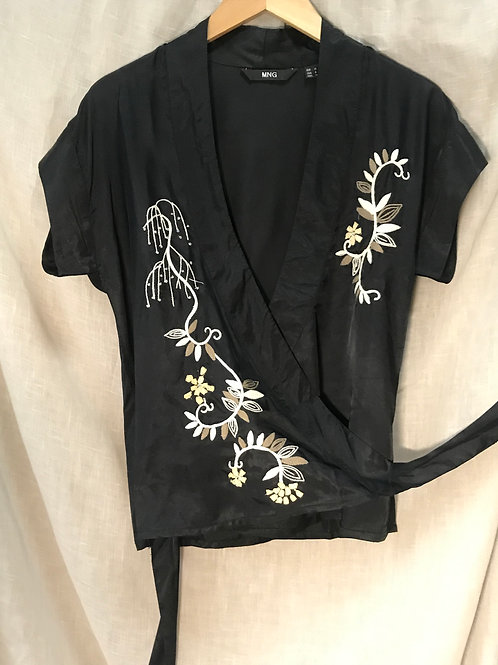 Mango Embroidered Wrap Top (Size M)