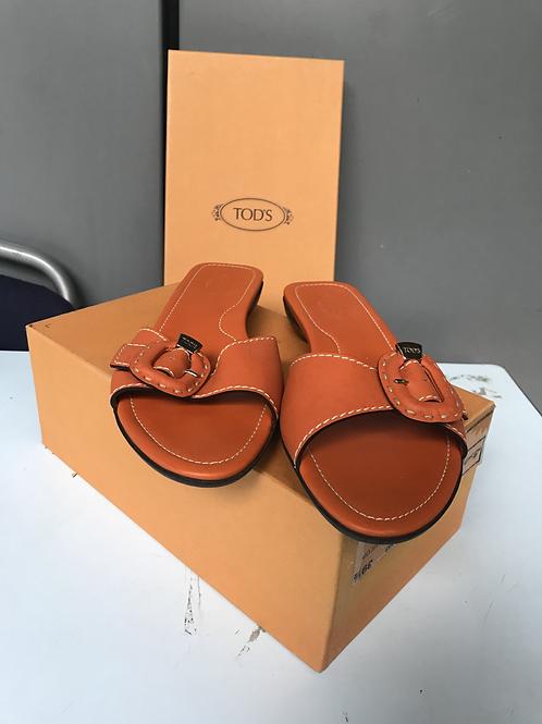 Tod's Orange Flats/Slides (Size 39.5)