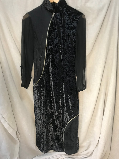 Zippered Black Cheongsam (Size XS)