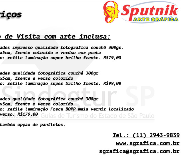 Serviços Sputnik Gráfica