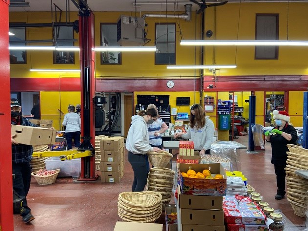 Christmas basket assembly line