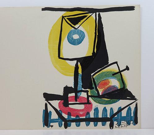 Picasso. Nature morte au verre et à la pomme. 1945.