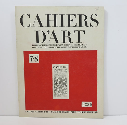 Cahiers d'Art. Number. 7-8, 1931