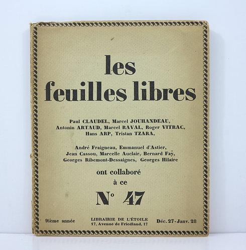 Les feuilles libres. N°47 de la 9ème année. 1928. Ill. by Hans Arp. Signed