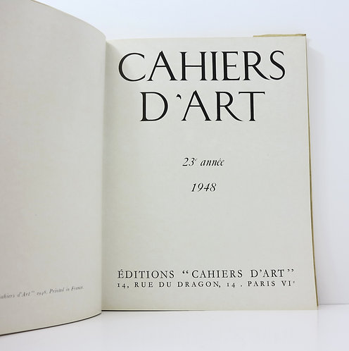 Cahiers d'Art. Year 23. 1948. Volume I : Pablo Picasso