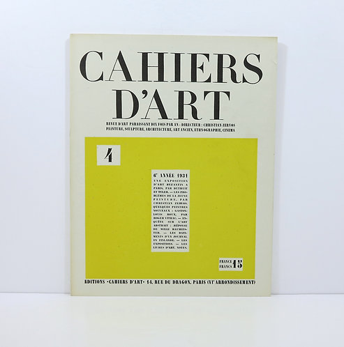 Cahiers d'Art. Year 1931. Number 4.