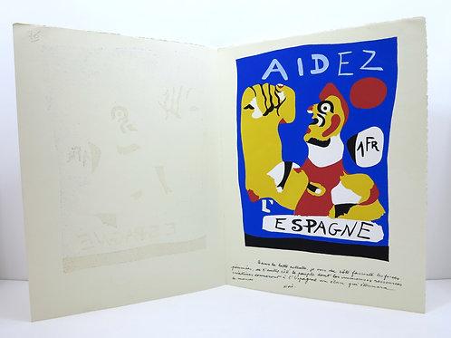 """Miro. Stencil for Cahiers d'Art. 1937. """"Aidez l'Espagne""""."""