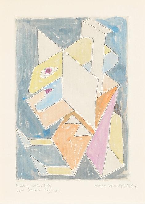 Victor Brauner (1903-1966)  L'Illuminateur, 1954. Aquarelle sur gravure.