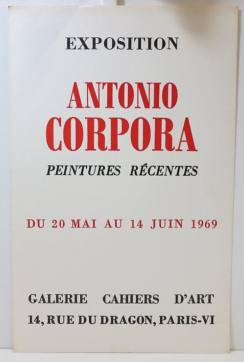"""Affiche de l'exposition """"Antonio Corpora, peintures récentes"""", 1969"""