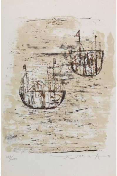 Zao Wou-Ki. Les petits bateaux. 1953. Signed and numbered.