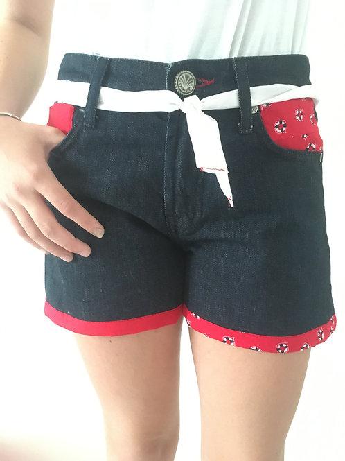 Short Jeans recyclés bouées rouges