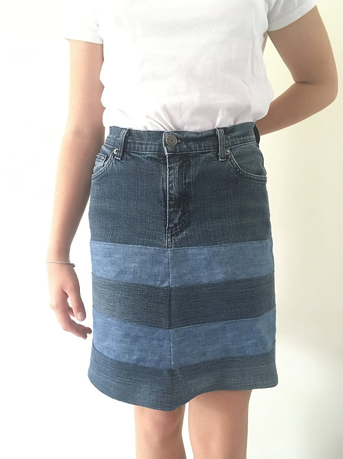 Jupe jeans recyclés rayures jeans