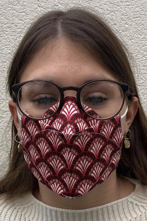 Masque 3D rouge éventail cerclé