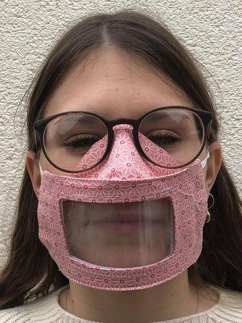 Masque transparent 3D, visière amovible étoiles roses