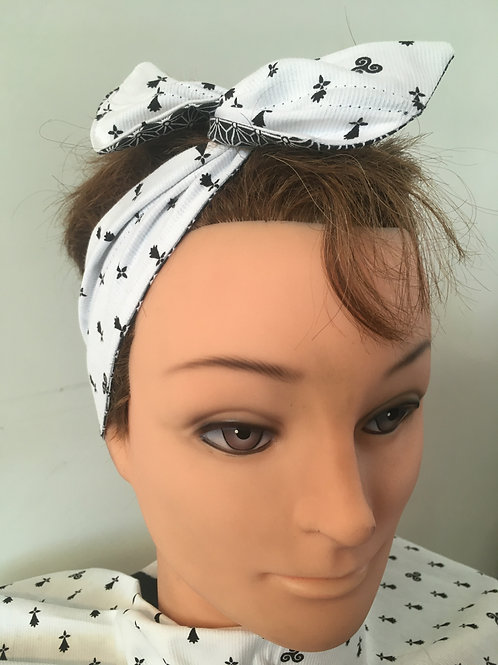 Bandeau pin-up XL semi triskell/hermine reversible noir étoiles blanches