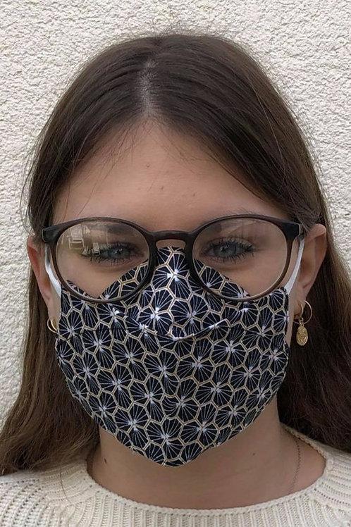 Masque 3D alvéoles noires et or