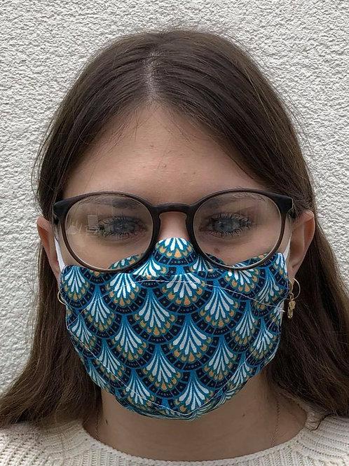 Masque 3D bleu éventail cerclé