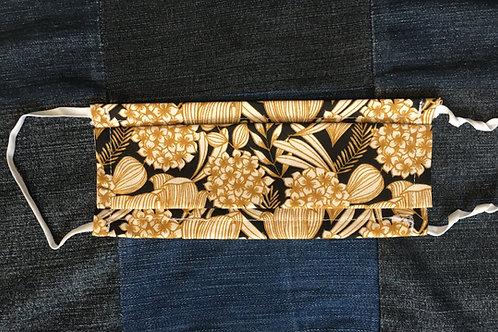 Masque tissus jaune/noir bouquet d'hortensias selon les normes AFNOR