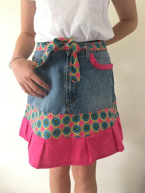 Jupe jeans recyclés rose et rond vert