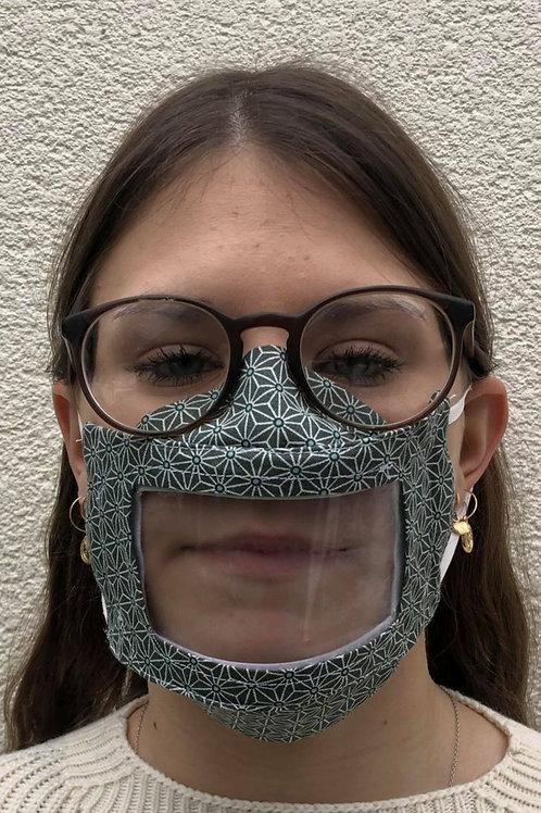Masque transparent 3D, visière amovible étoiles kaki