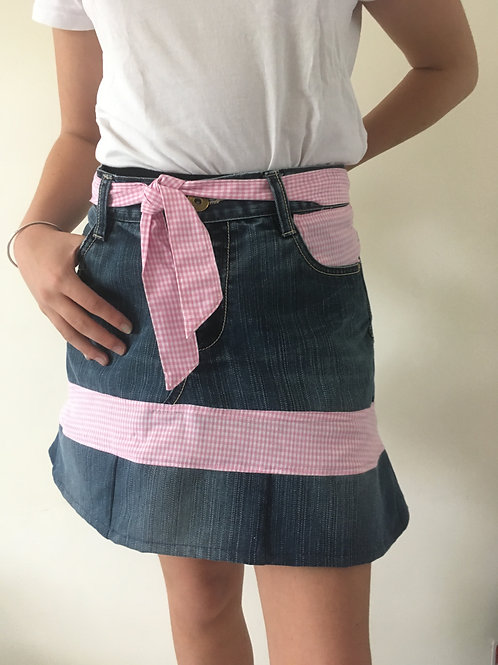 Jupe jeans recyclés vichy rose
