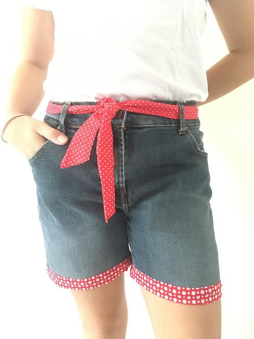 Short jeans recyclés fleurs fushia/rouge