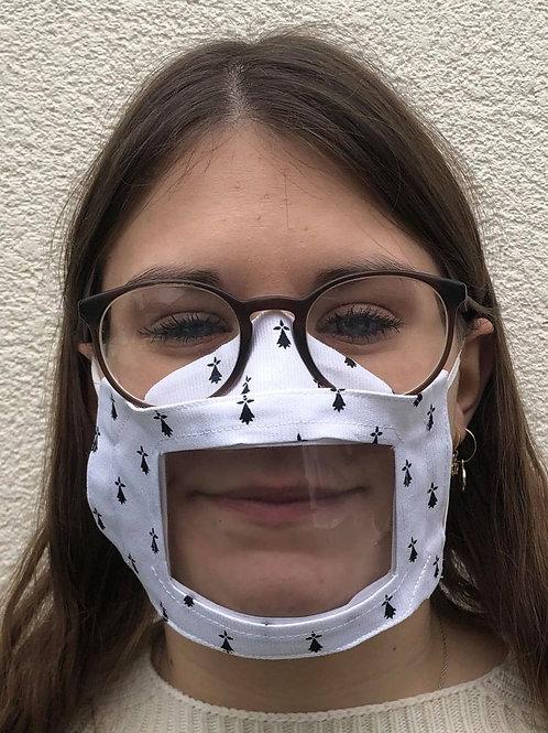 Masque transparent 3D, visière amovible breton blanc