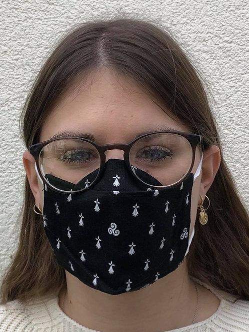 Masque 3D décor hermine triskell breton noir