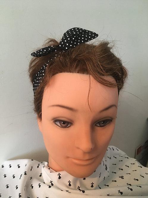 bandeau pin-up noir pois blanc