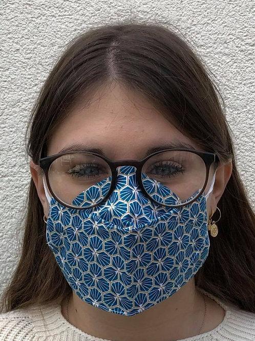Masque 3D alvéoles bleu/or