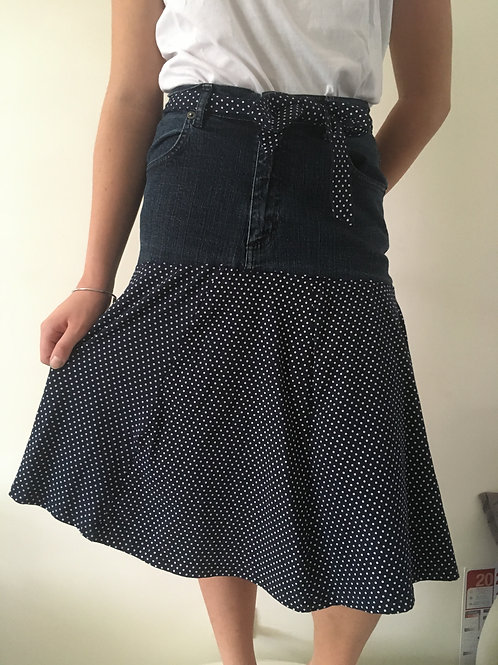 Jupe longue jeans recyclés pois blanc fond noir