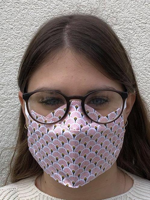 Masque 3D éventail rose