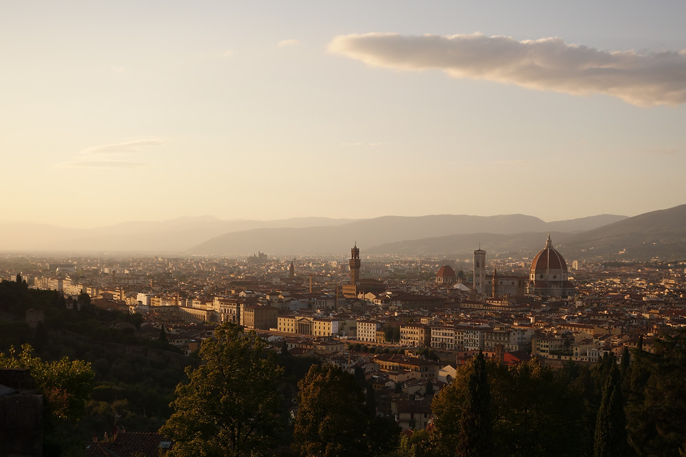 A view of Florence from high looking at the city and the cupola of the Duomo