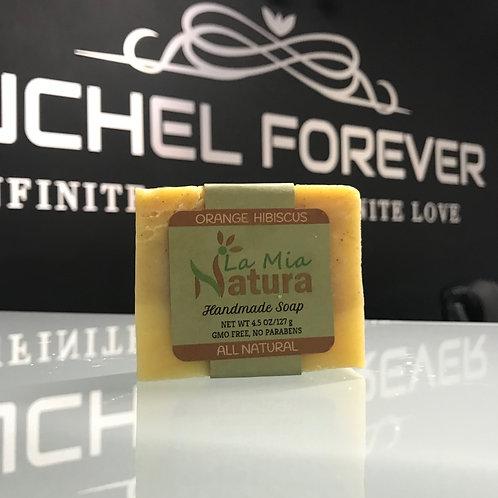 La Mia Natura Orange Hibiscus Handmade Soap All Natural 4.5 oz
