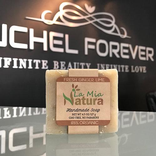 La Mia Natura Fresh Ginger Lime Handmade Soap 85% Organic 4.5 oz