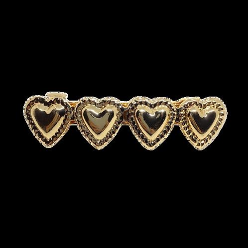 Fivela Corações Dourada