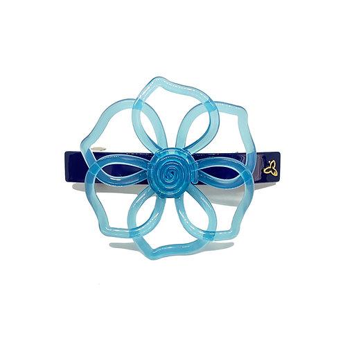 Fivela Mini Flor Vazada Azul