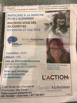 Présidente d'honneur pour la Marche pour l'Alzheimer de Lanaudière 2015-2019