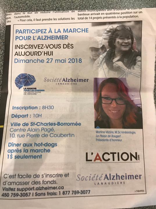 Le Plaisir de Bouger-Présidente d'honneur-Marche pour l'Alzheimer de Lanaudière