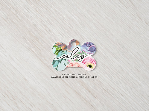 Pastel Succulent Printed Dog Tag