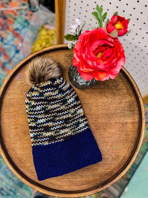 Knit Beanie - Navy Neutrals